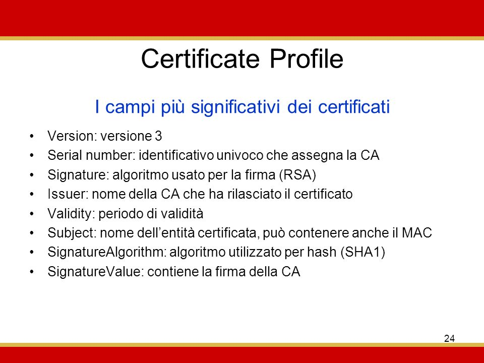 I campi più significativi dei certificati