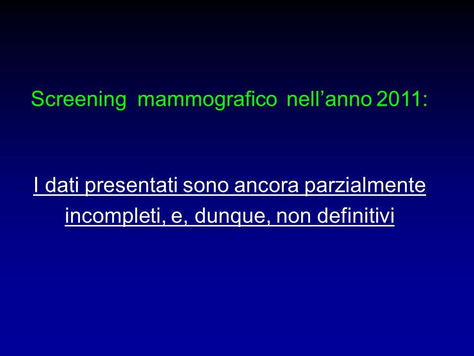 Screening mammografico nell'anno 2011: