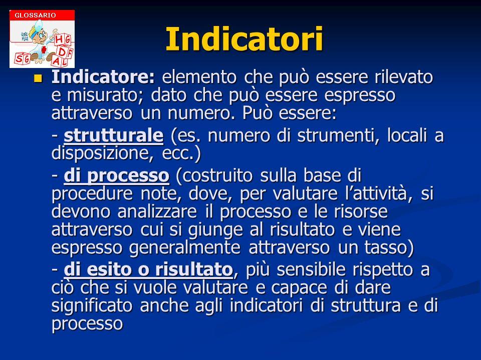 IndicatoriIndicatore: elemento che può essere rilevato e misurato; dato che può essere espresso attraverso un numero. Può essere: