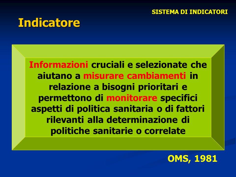 SISTEMA DI INDICATORI Indicatore.
