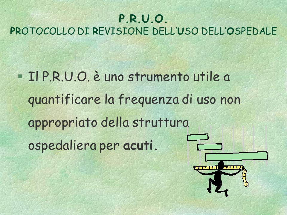 P.R.U.O. PROTOCOLLO DI REVISIONE DELL'USO DELL'OSPEDALE