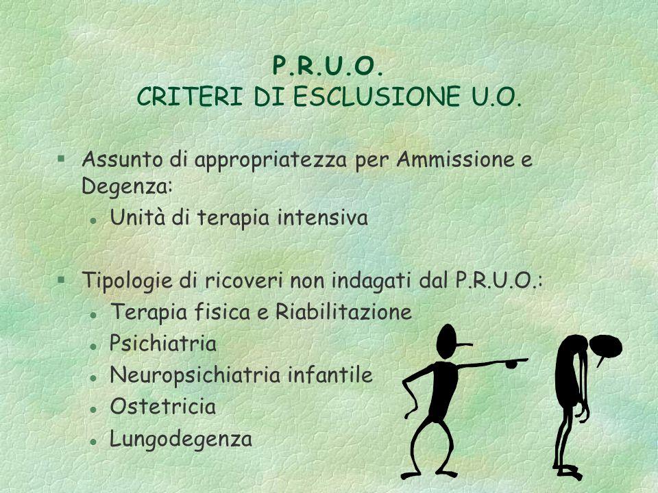 P.R.U.O. CRITERI DI ESCLUSIONE U.O.