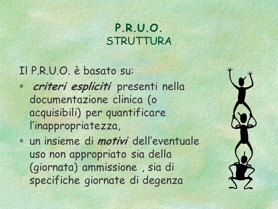 P.R.U.O. STRUTTURA Il P.R.U.O. è basato su: