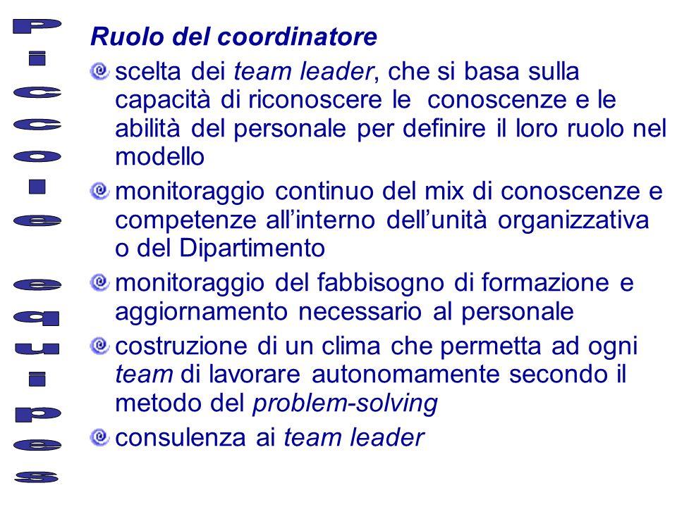 Piccole equipes Ruolo del coordinatore