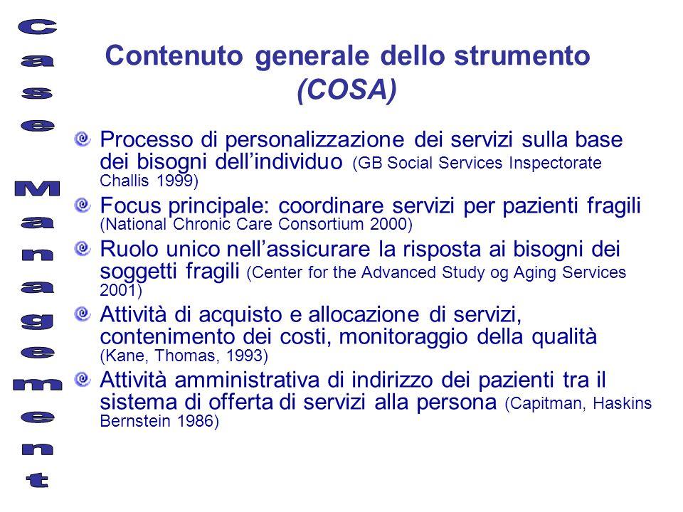 Contenuto generale dello strumento (COSA)