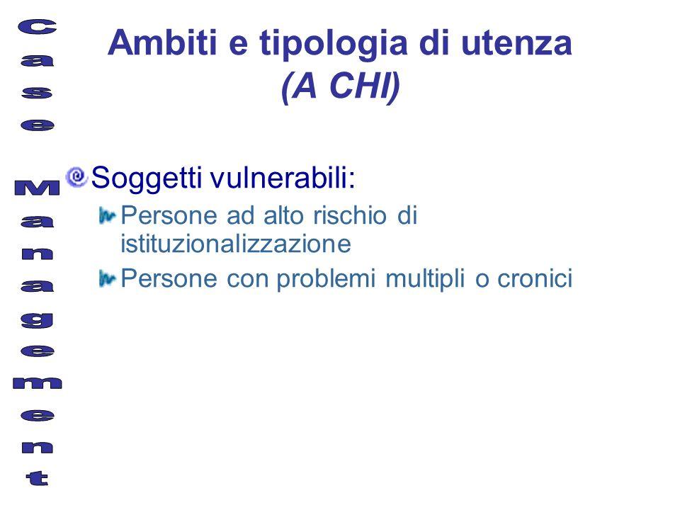 Ambiti e tipologia di utenza (A CHI)