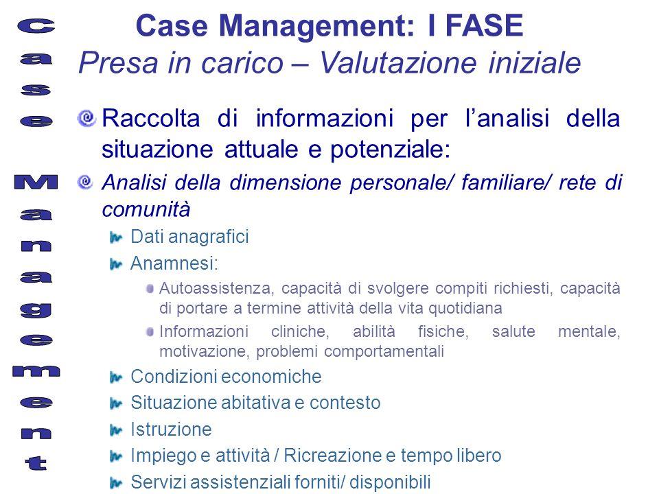 Case Management: I FASE Presa in carico – Valutazione iniziale