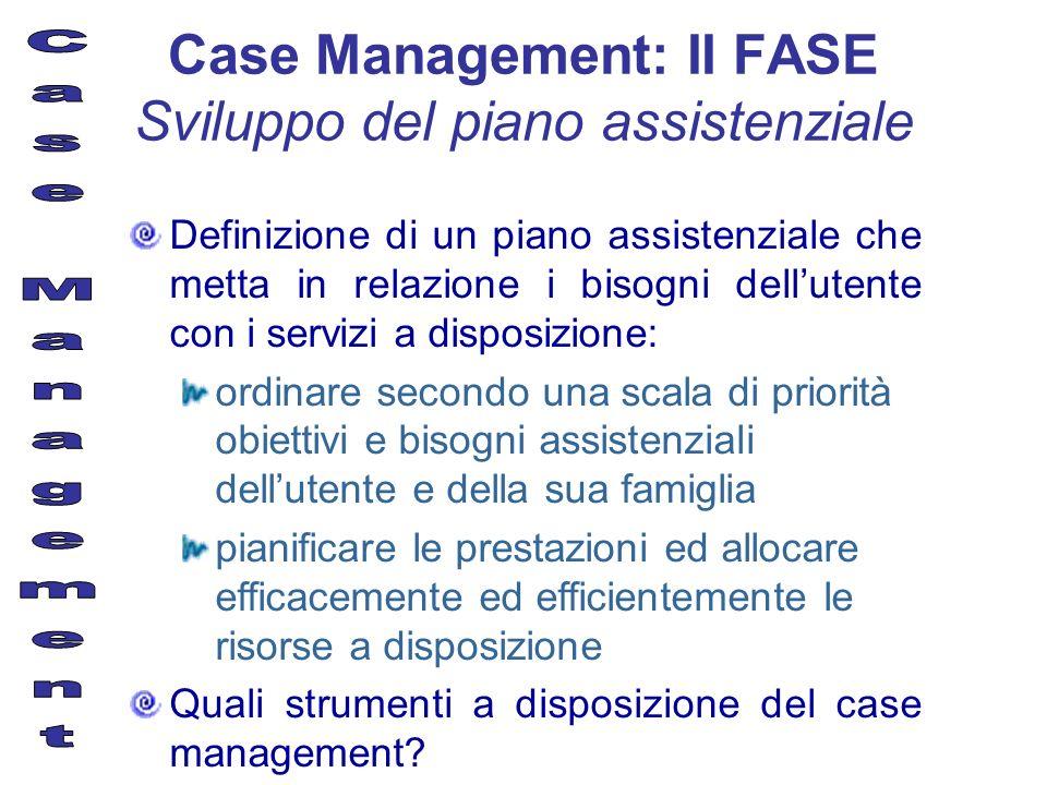 Case Management: II FASE Sviluppo del piano assistenziale