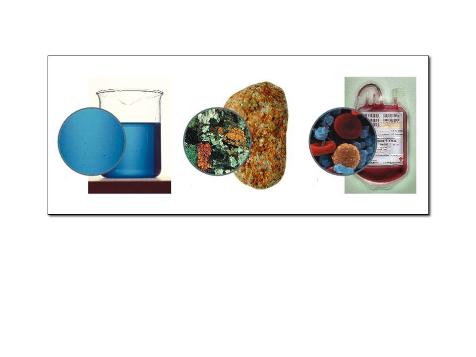 Il solfato di rame sciolto in acqua è una soluzione, mentre il granito ed il sangue sono miscugli eterogenei.