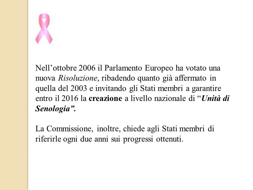 Nell'ottobre 2006 il Parlamento Europeo ha votato una nuova Risoluzione, ribadendo quanto già affermato in quella del 2003 e invitando gli Stati membri a garantire entro il 2016 la creazione a livello nazionale di Unità di Senologia .