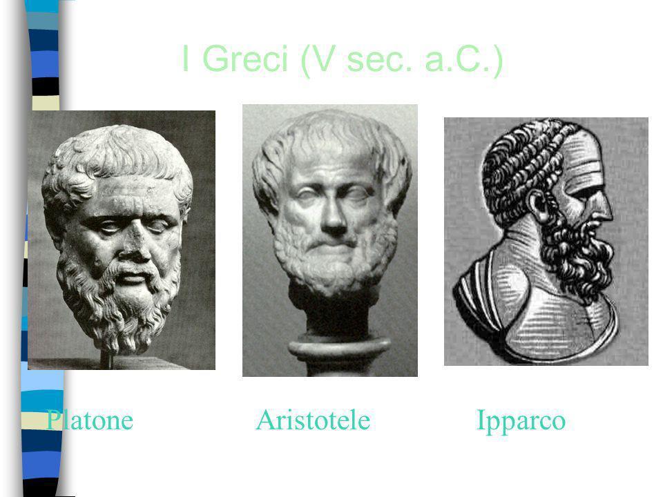 I Greci (V sec. a.C.) Platone Aristotele Ipparco