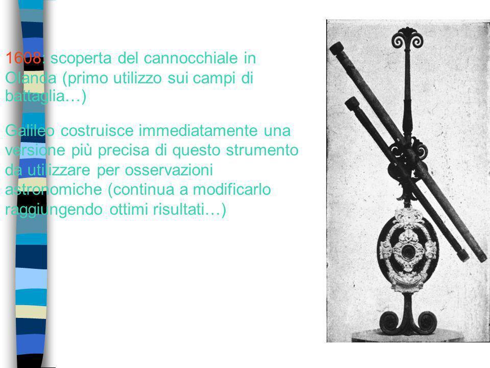 1608: scoperta del cannocchiale in Olanda (primo utilizzo sui campi di battaglia…)