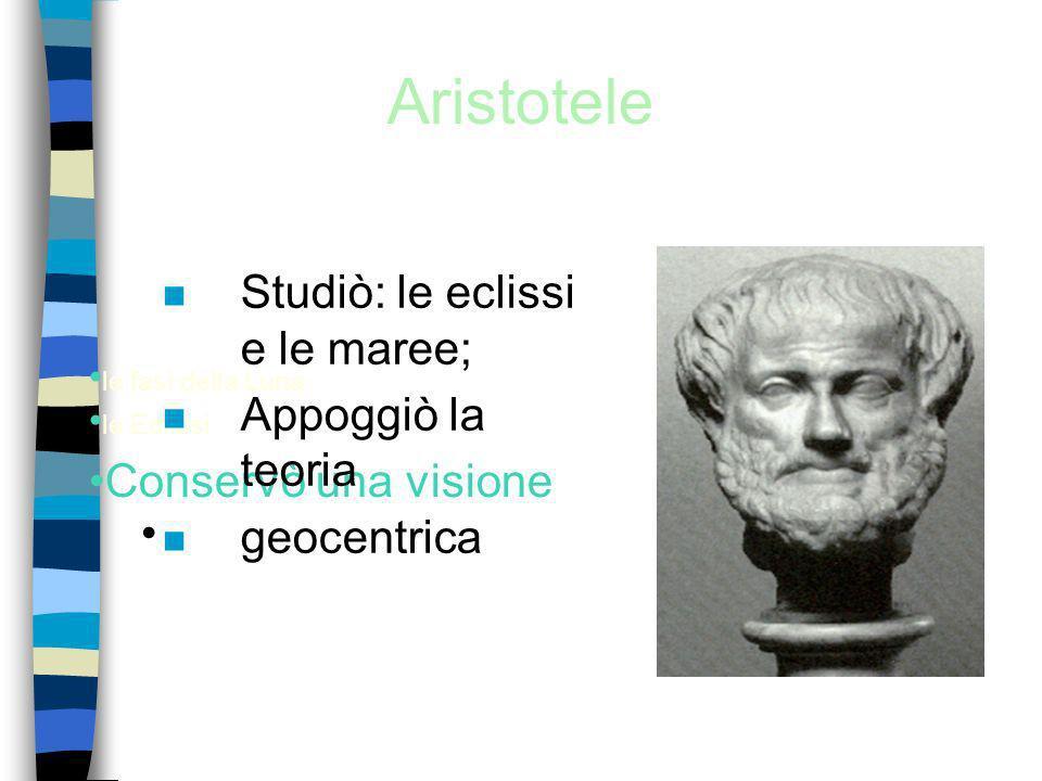Aristotele Studiò: le eclissi e le maree; Appoggiò la teoria