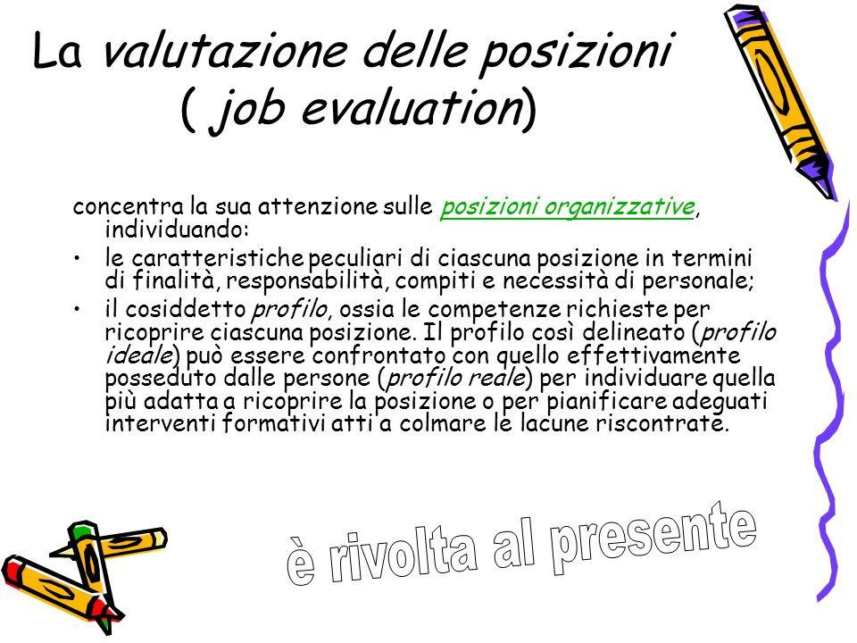 La valutazione delle posizioni ( job evaluation)