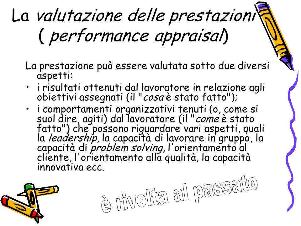 La valutazione delle prestazioni ( performance appraisal)