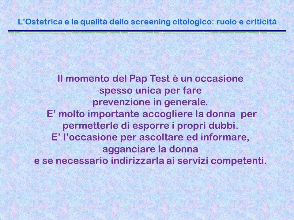 L'Ostetrica e la qualità dello screening citologico: ruolo e criticità