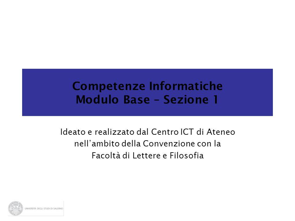 Competenze Informatiche Modulo Base – Sezione 1