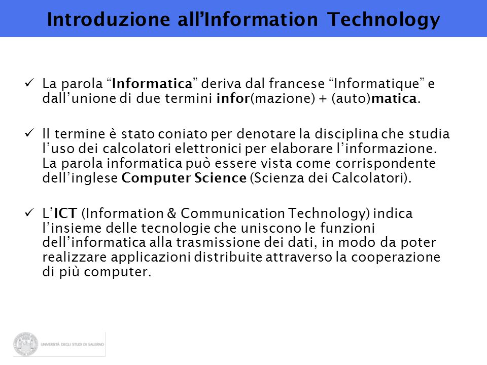 Introduzione all'Information Technology