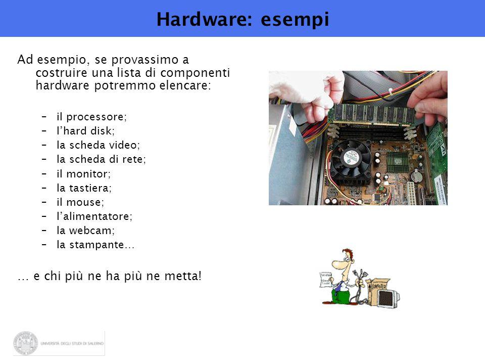 Hardware: esempi Ad esempio, se provassimo a costruire una lista di componenti hardware potremmo elencare: