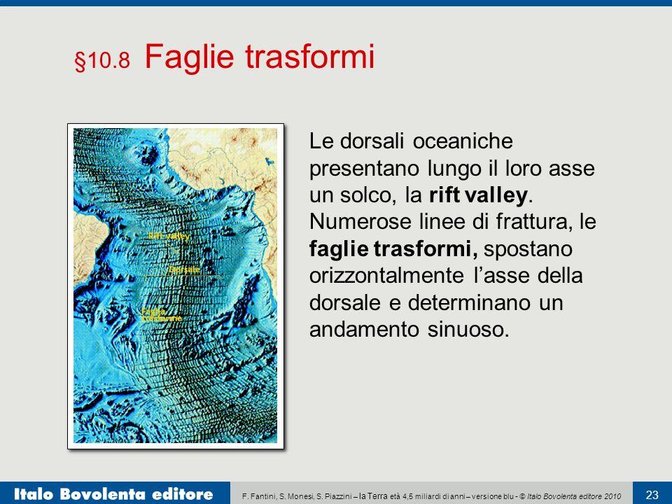 §10.8 Faglie trasformi Le dorsali oceaniche presentano lungo il loro asse un solco, la rift valley.