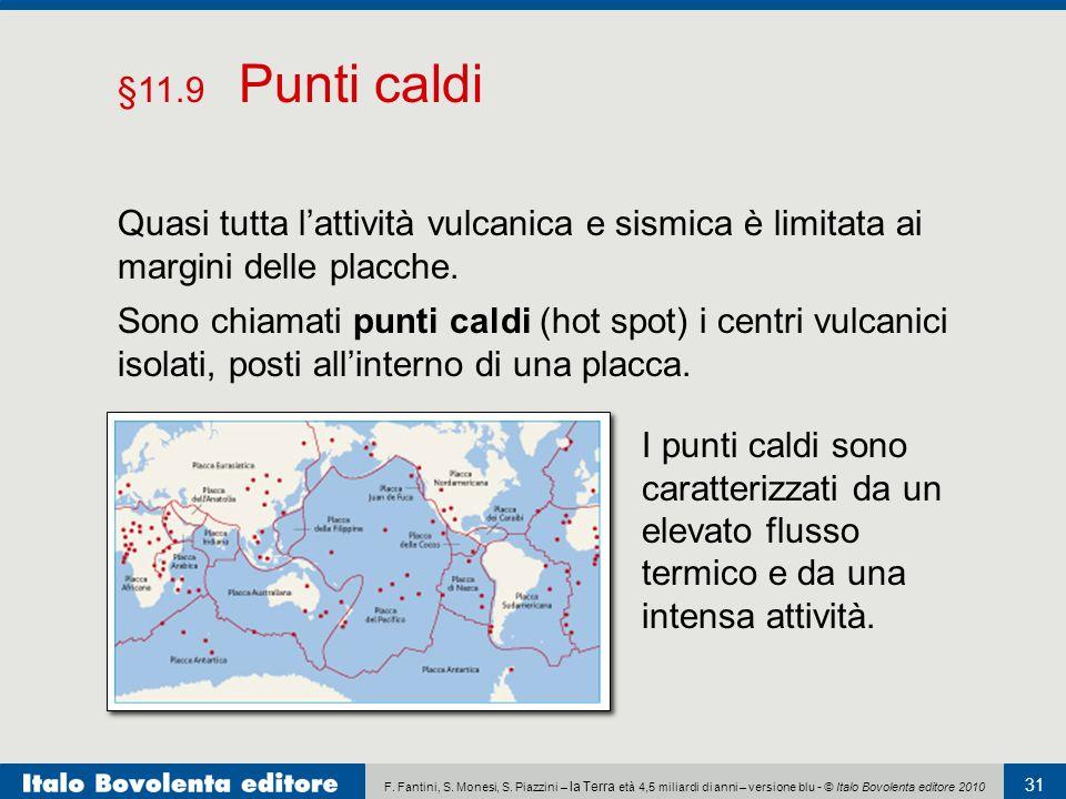§11.9 Punti caldi Quasi tutta l'attività vulcanica e sismica è limitata ai margini delle placche.