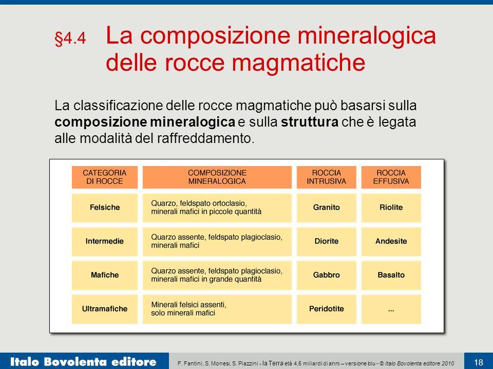 §4.4 La composizione mineralogica delle rocce magmatiche