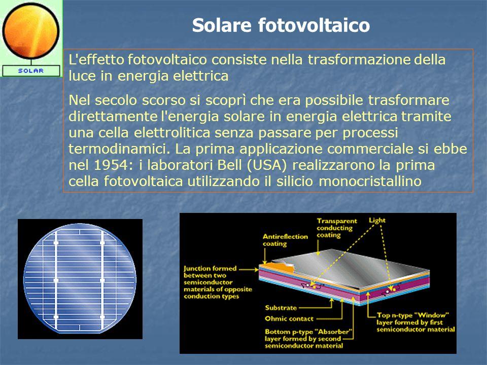 Solare fotovoltaico L effetto fotovoltaico consiste nella trasformazione della luce in energia elettrica.