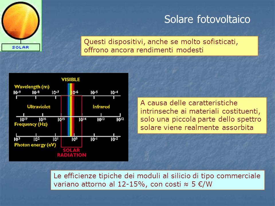 Solare fotovoltaico Questi dispositivi, anche se molto sofisticati, offrono ancora rendimenti modesti.