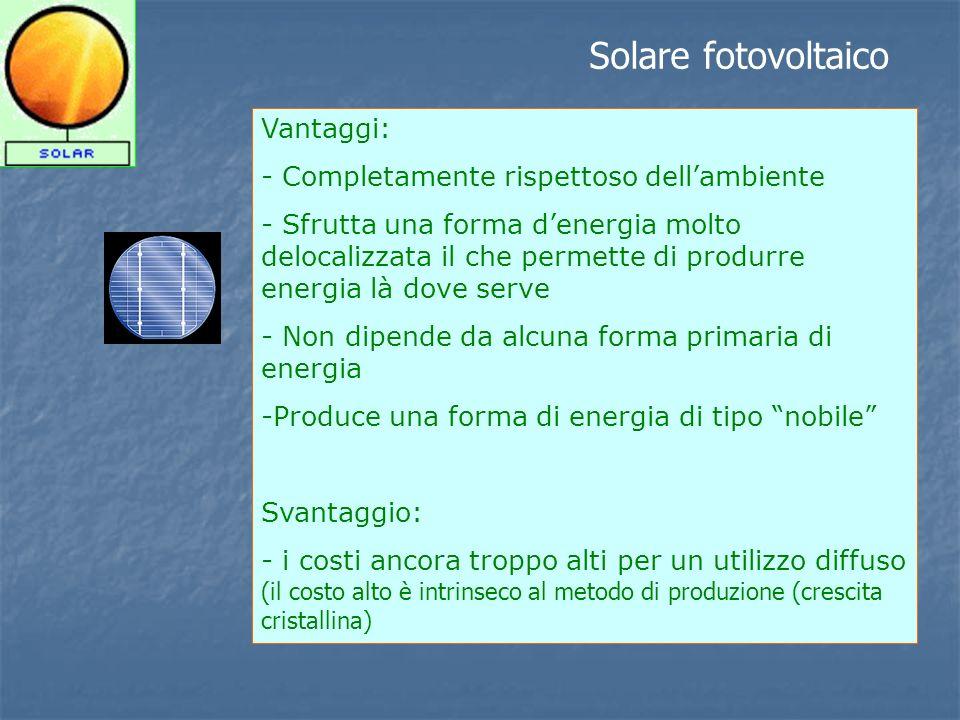Solare fotovoltaico Vantaggi: - Completamente rispettoso dell'ambiente