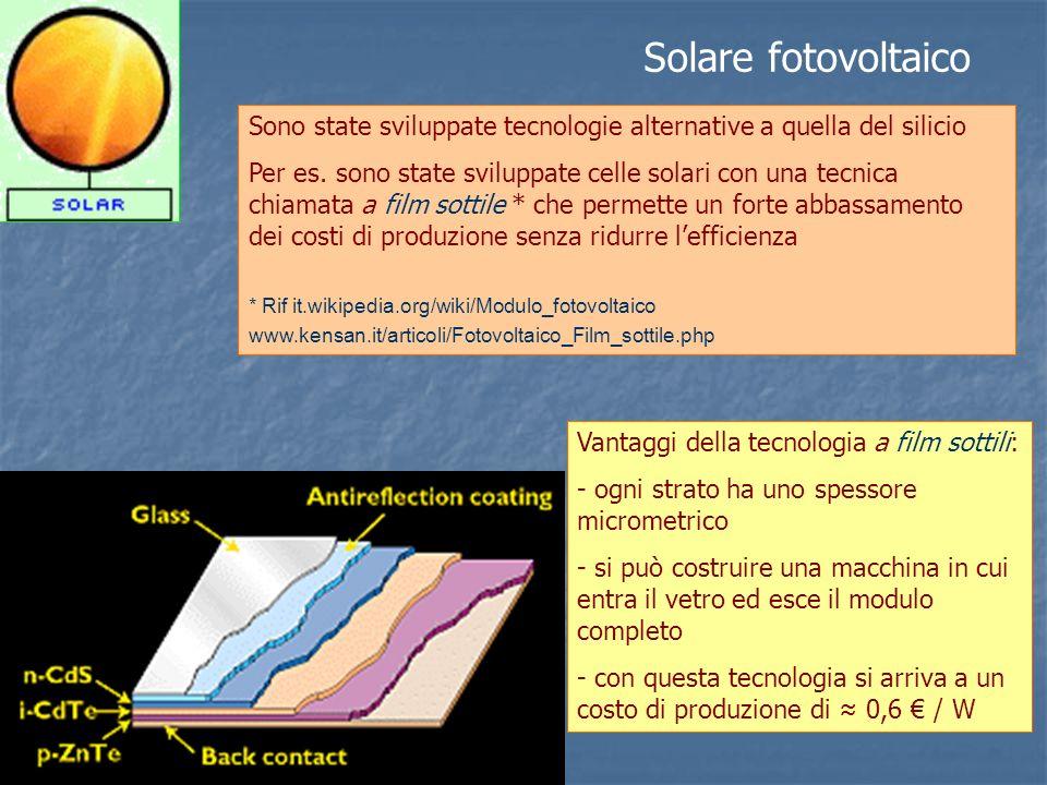 Solare fotovoltaico Sono state sviluppate tecnologie alternative a quella del silicio.