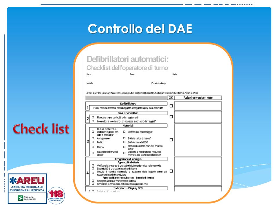 Controllo del DAE Check list