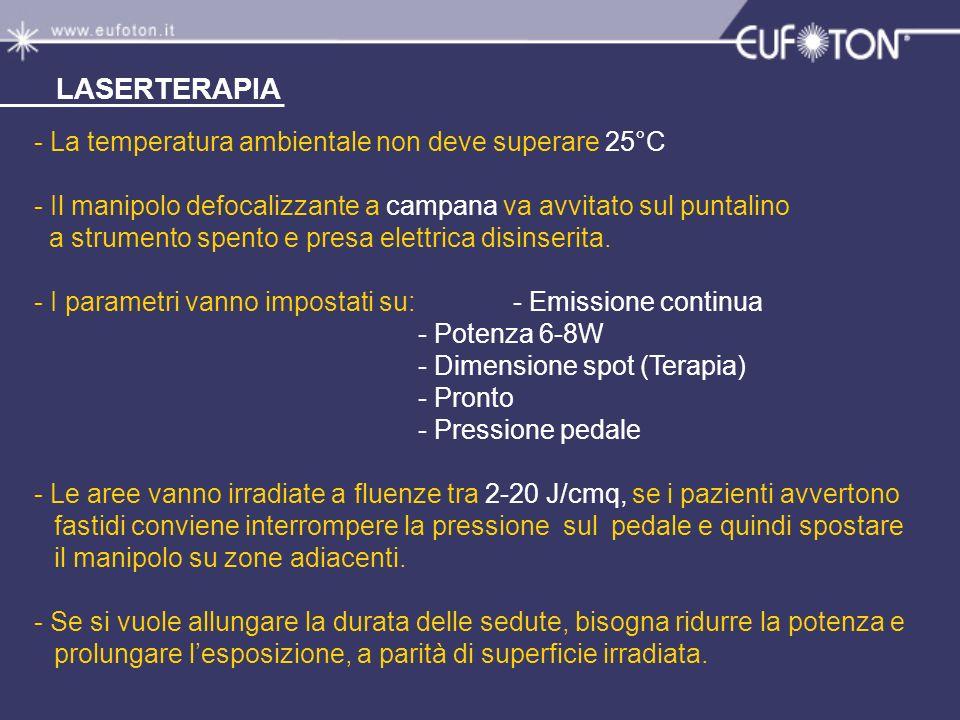 LASERTERAPIA - La temperatura ambientale non deve superare 25°C