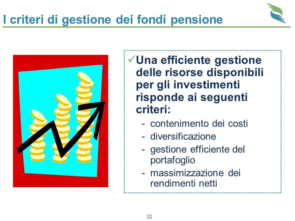 I criteri di gestione dei fondi pensione
