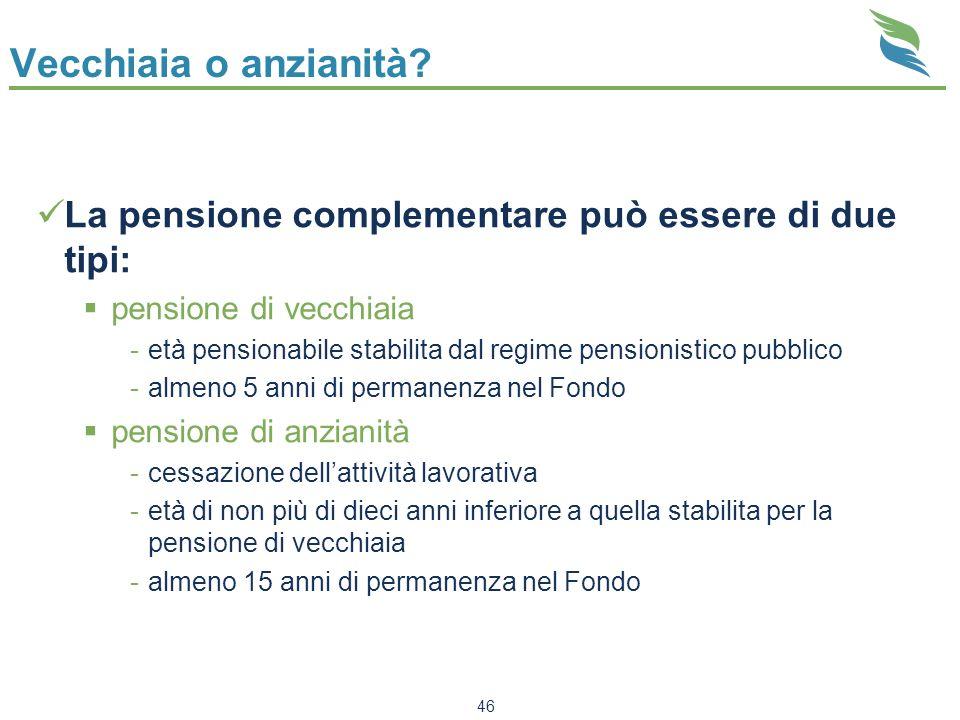 Vecchiaia o anzianità La pensione complementare può essere di due tipi: pensione di vecchiaia.