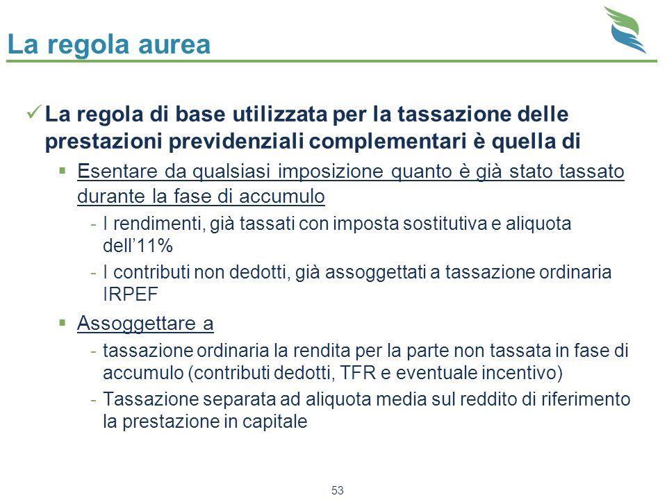 La regola aureaLa regola di base utilizzata per la tassazione delle prestazioni previdenziali complementari è quella di.
