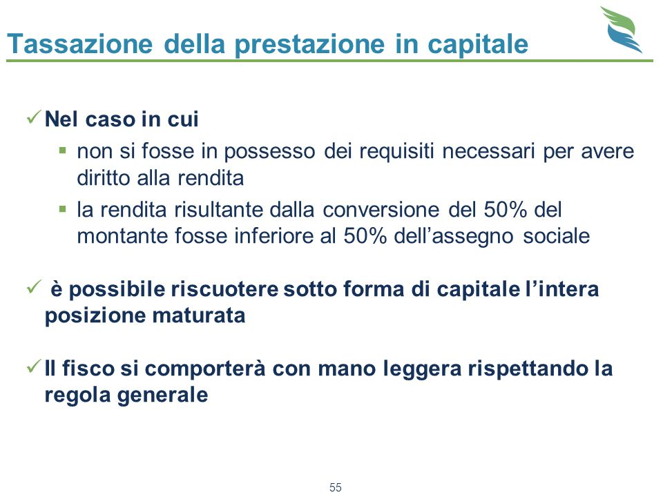 Tassazione della prestazione in capitale