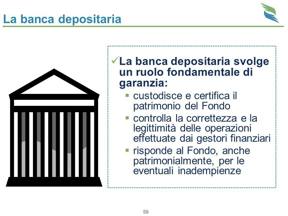 La banca depositaria La banca depositaria svolge un ruolo fondamentale di garanzia: custodisce e certifica il patrimonio del Fondo.