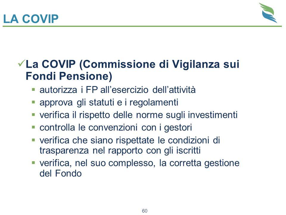 LA COVIP La COVIP (Commissione di Vigilanza sui Fondi Pensione)