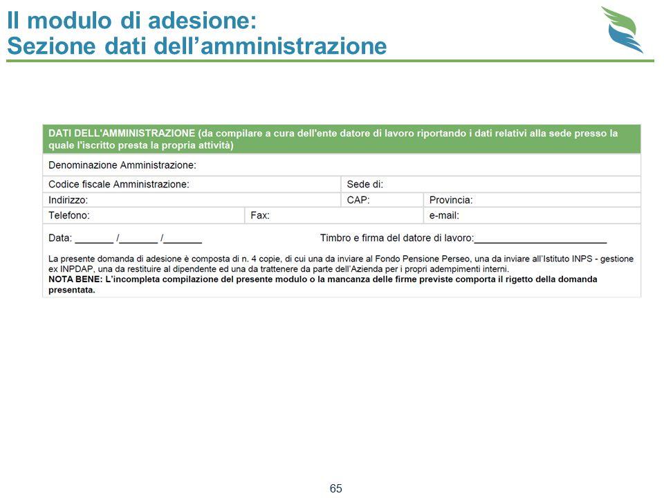 Il modulo di adesione: Sezione dati dell'amministrazione