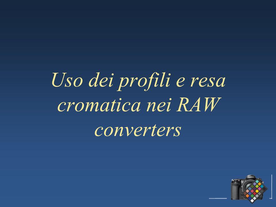 Uso dei profili e resa cromatica nei RAW converters