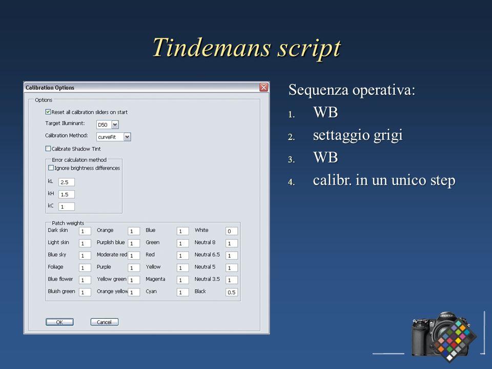 Tindemans script Sequenza operativa: WB settaggio grigi