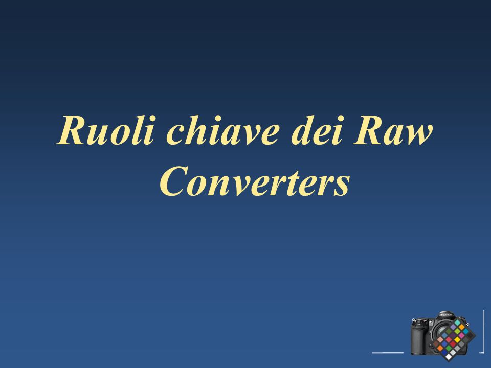 Ruoli chiave dei Raw Converters