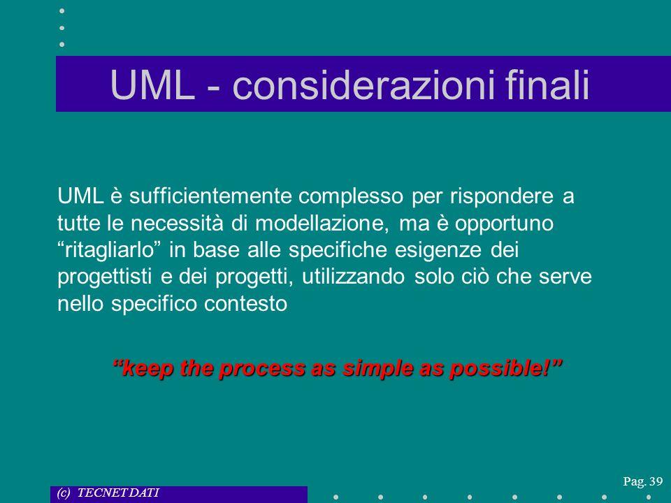 UML - considerazioni finali