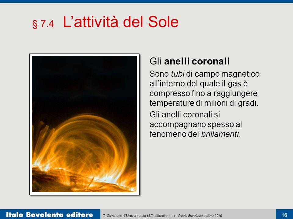 § 7.4 L'attività del Sole Gli anelli coronali