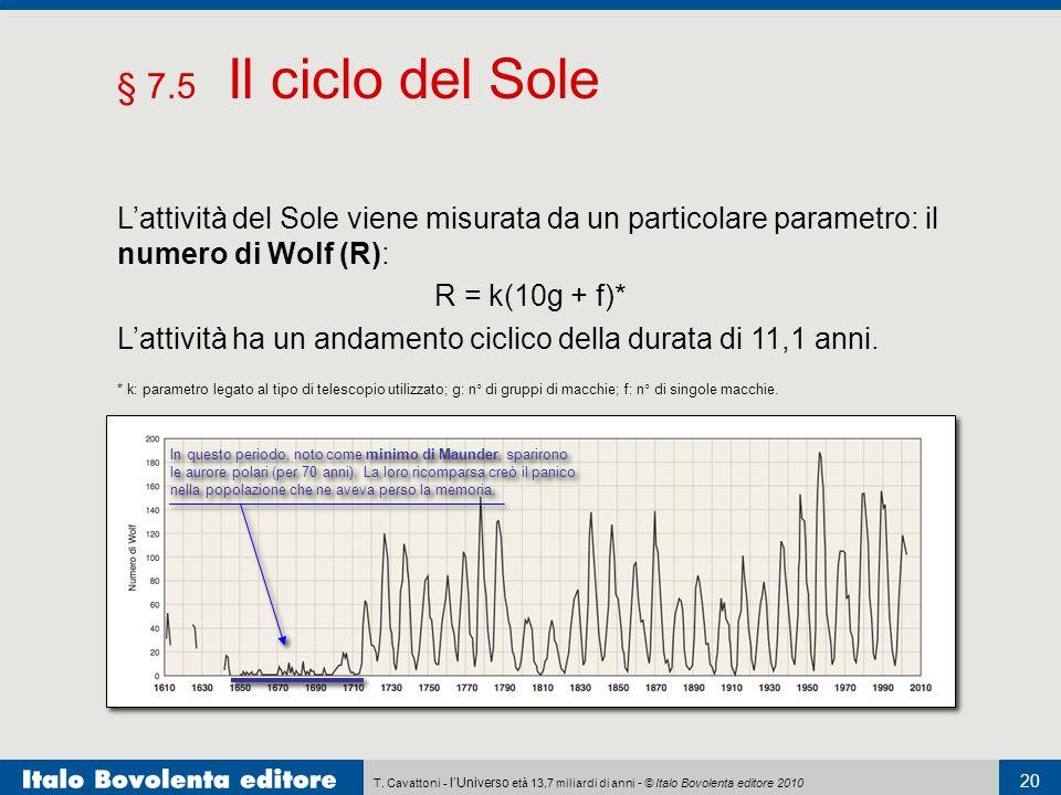 § 7.5 Il ciclo del Sole L'attività del Sole viene misurata da un particolare parametro: il numero di Wolf (R):