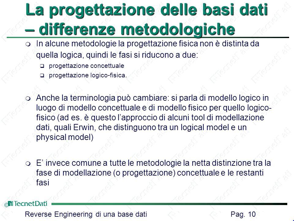 La progettazione delle basi dati – differenze metodologiche