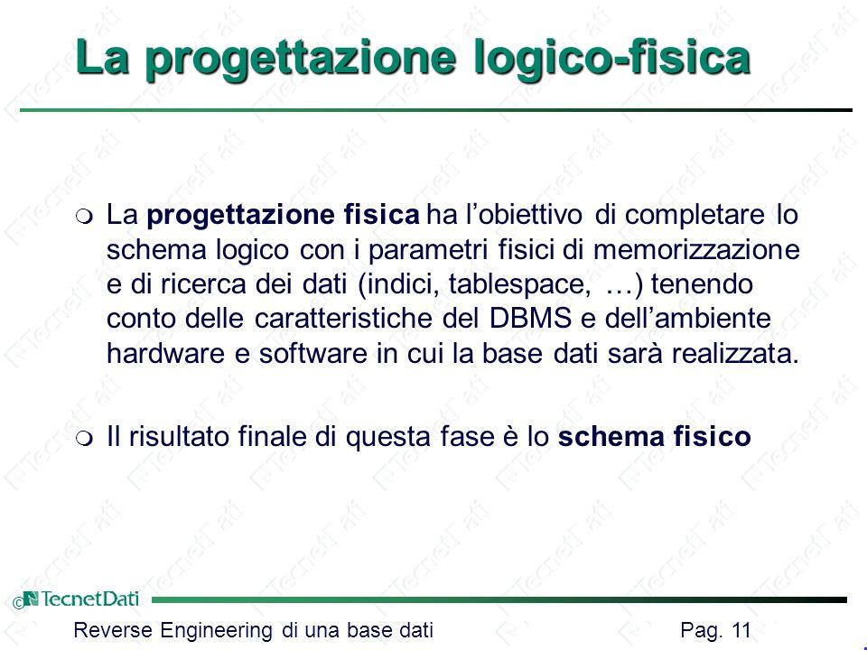 La progettazione logico-fisica