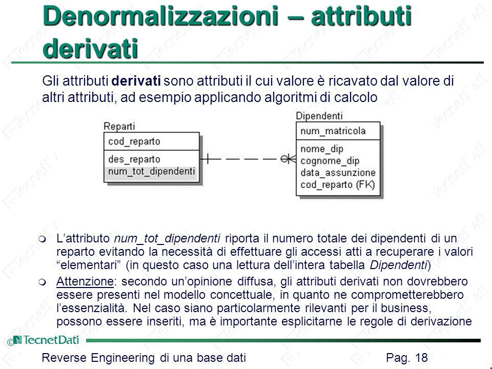 Denormalizzazioni – attributi derivati