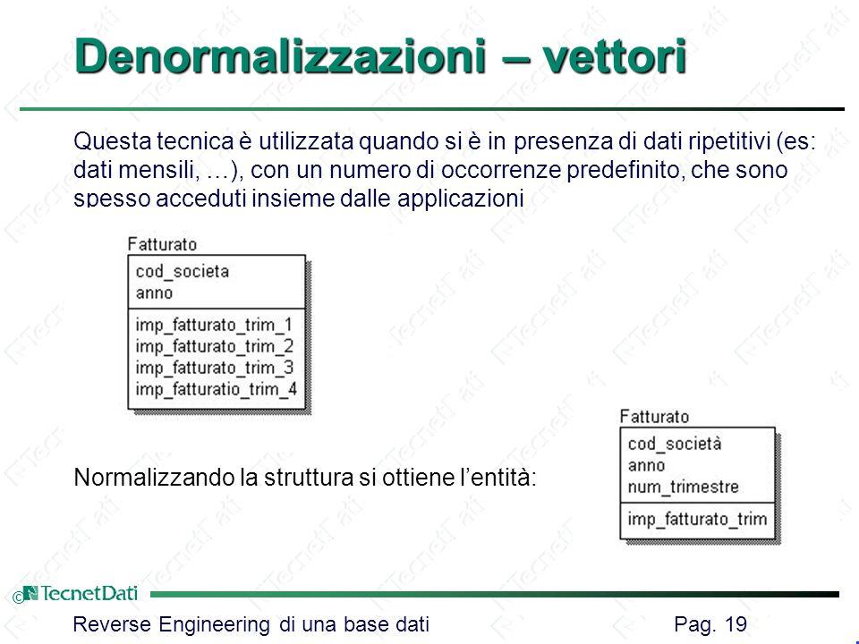 Denormalizzazioni – vettori