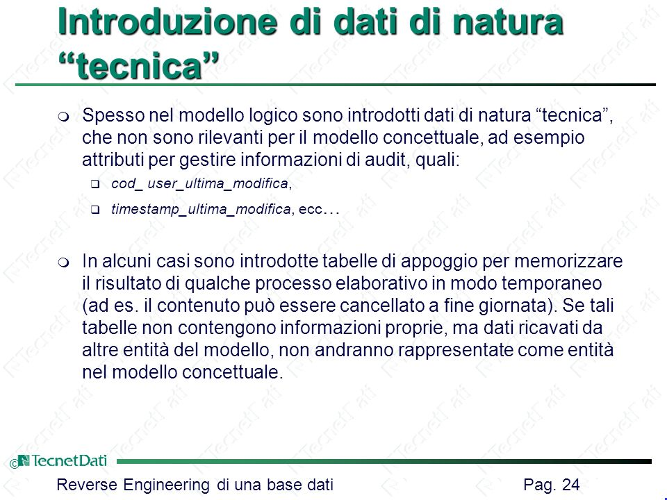 Introduzione di dati di natura tecnica
